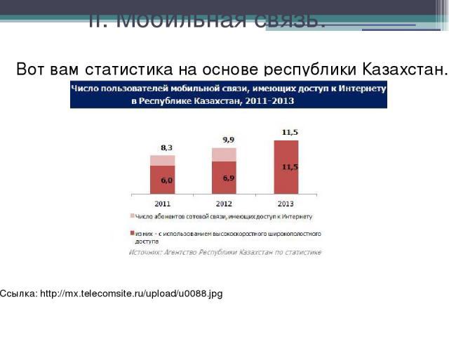 II. Мобильная связь. Вот вам статистика на основе республики Казахстан. Ссылка: http://mx.telecomsite.ru/upload/u0088.jpg