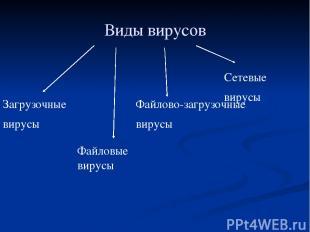 Виды вирусов Загрузочные вирусы Файловые вирусы Файлово-загрузочные вирусы Сетев