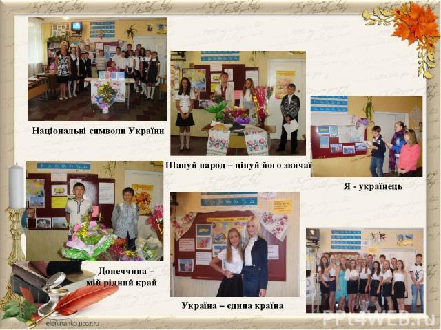 Україна – єдина країна Шануй народ – цінуй його звичаї Національні символи України Донеччина – мій рідний край Я - українець