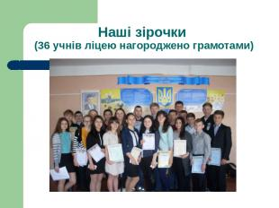 Наші зірочки (36 учнів ліцею нагороджено грамотами)