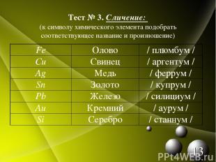 Тест № 3. Сличение: (к символу химического элемента подобрать соответствующее на