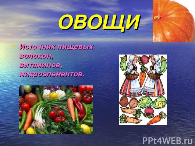 ОВОЩИ Источник пищевых волокон, витаминов, микроэлементов.