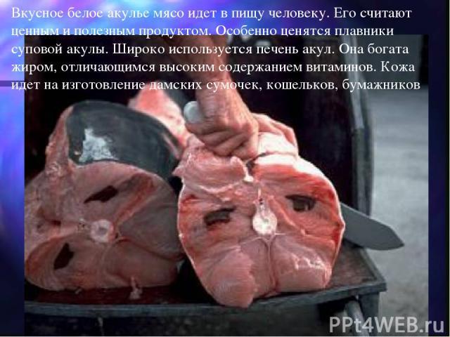 Вкусное белое акулье мясо идет в пищу человеку. Его считают ценным и полезным продуктом. Особенно ценятся плавники суповой акулы. Широко используется печень акул. Она богата жиром, отличающимся высоким содержанием витаминов. Кожа идет на изготовлени…