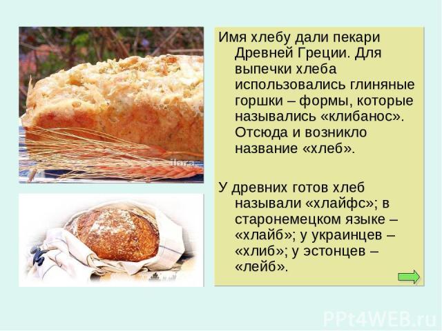 Имя хлебу дали пекари Древней Греции. Для выпечки хлеба использовались глиняные горшки – формы, которые назывались «клибанос». Отсюда и возникло название «хлеб». У древних готов хлеб называли «хлайфс»; в старонемецком языке – «хлайб»; у украинцев – …