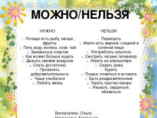 МОЖНО/НЕЛЬЗЯ Воспитатель: Ольга Николаевна Артеменко НУЖНО: НЕЛЬЗЯ: Почаще есть