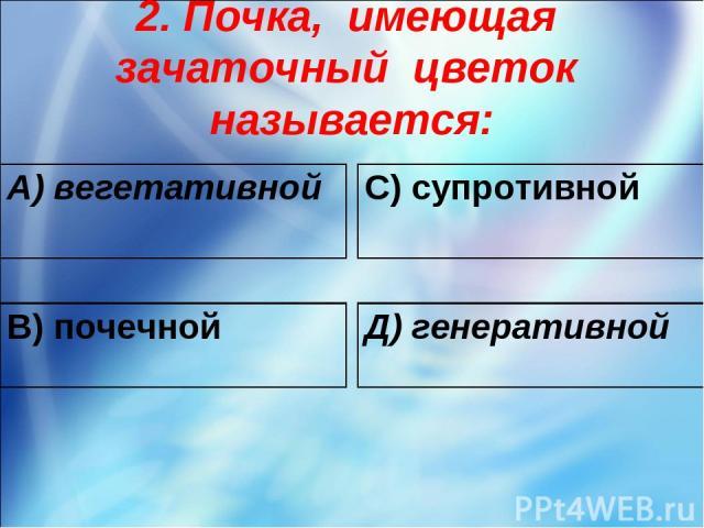 2. Почка, имеющая зачаточный цветок называется: А) вегетативной С) супротивной В) почечной Д) генеративной