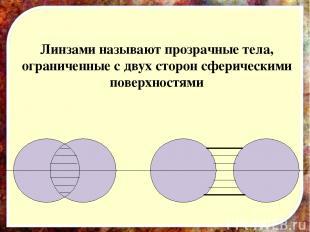 Линзами называют прозрачные тела, ограниченные с двух сторон сферическими поверх