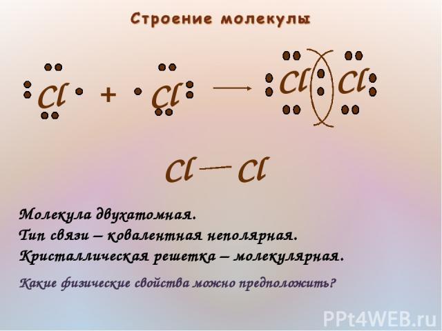 Молекула двухатомная. Тип связи – ковалентная неполярная. Кристаллическая решетка – молекулярная. Какие физические свойства можно предположить?