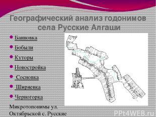 Географический анализ годонимов села Русские Алгаши Банновка Бобыли Куторы Новос