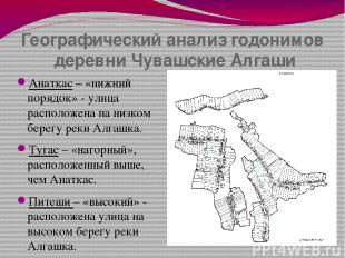 Географический анализ годонимов деревни Чувашские Алгаши Анаткас – «нижний поряд