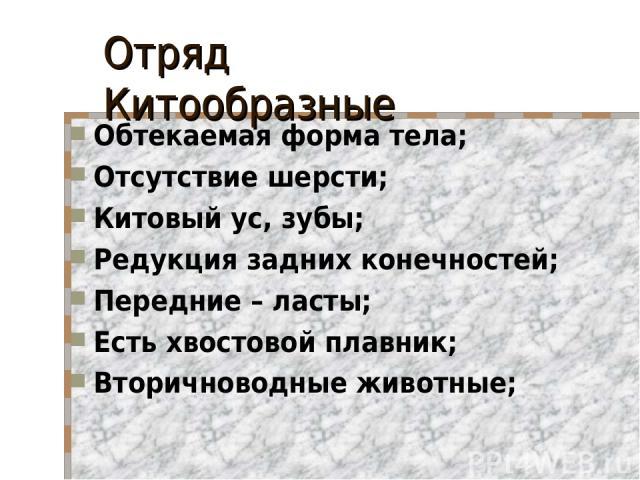 Отряд Китообразные Обтекаемая форма тела; Отсутствие шерсти; Китовый ус, зубы; Редукция задних конечностей; Передние – ласты; Есть хвостовой плавник; Вторичноводные животные;