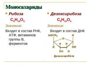 Моносахариды Рибоза С5Н10О5 Значение: Входит в состав РНК, АТФ, витаминов группы