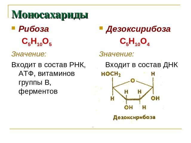Моносахариды Рибоза С5Н10О5 Значение: Входит в состав РНК, АТФ, витаминов группы В, ферментов Дезоксирибоза С5Н10О4 Значение: Входит в состав ДНК