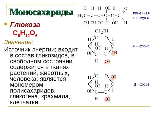 Глюкоза С6Н12О6 Значение: Источник энергии; входит в состав гликозидов, в свободном состоянии содержится в тканях растений, животных, человека; является мономером полисахаридов, гликогена, крахмала, клетчатки. Моносахариды