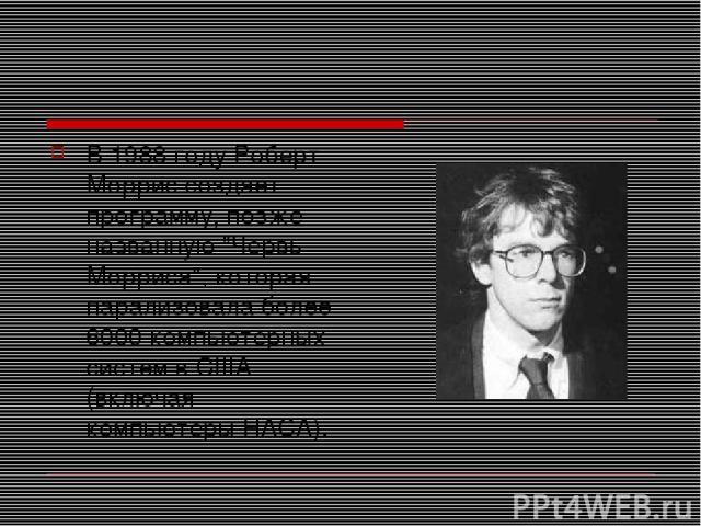 В 1988 году Роберт Моррис создает программу, позже названную