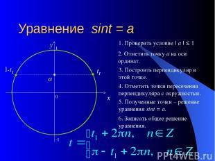 Уравнение sint = a 0 x y 2. Отметить точку а на оси ординат. 3. Построить перпен