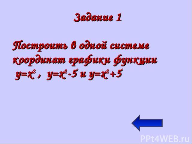 Задание 1 Построить в одной системе координат графики функции y=x2 , y=x2-5 и y=x2+5