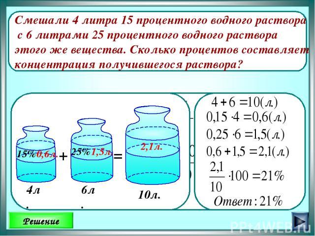 Смешали 4 литра 15 процентного водного раствора с 6 литрами 25 процентного водного раствора этого же вещества. Сколько процентов составляет концентрация получившегося раствора? Решение Ответ: 4 л. 0,6л. 1,5л. 2,1л. 10л.