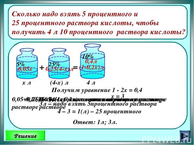 Решение Сколько надо взять 5 процентного и 25 процентного раствора кислоты, чтобы получить 4 л 10 процентного раствора кислоты? + = х л 0,25 · (4 - х) л – кислоты во втором растворе 4 л (4-х) л 0,4л (1-0,2х)л 0,05х 0,25(4-х)л 0,05 х ( л )– кислоты в…