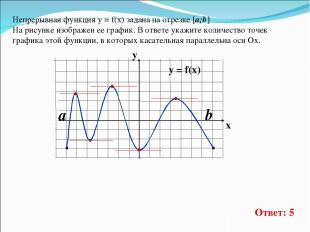Непрерывная функция у = f(x) задана на отрезке [a;b] На рисунке изображен ее гра