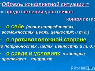 Образы конфликтной ситуации = = представления участников конфликта: - о себе (св