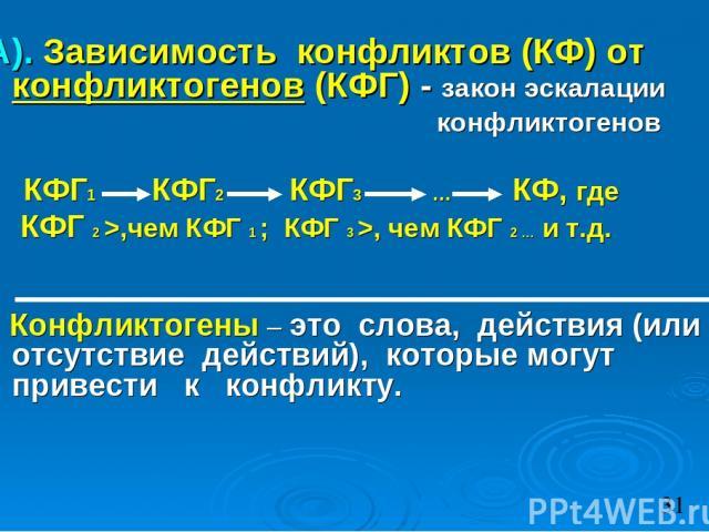А). Зависимость конфликтов (КФ) от конфликтогенов (КФГ) - закон эскалации конфликтогенов КФГ1 КФГ2 КФГ3 … КФ, где КФГ 2 >,чем КФГ 1 ; КФГ 3 >, чем КФГ 2 … и т.д. Конфликтогены – это слова, действия (или отсутствие действий), которые могут привести к…