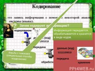 Кодирование – это запись информации с помощью некоторой знаковой системы (языка)