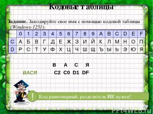 Кодовые таблицы Задание. Закодируйте свое имя с помощью кодовой таблицы (Windows