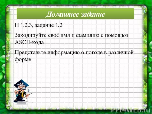 Домашнее задание П 1.2.3, задание 1.2 Закодируйте своё имя и фамилию с помощью ASCII-кода Представьте информацию о погоде в различной форме