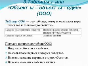3.Таблицы типа «Объекты – объекты - один» (ООО) Таблица ООО — это таблица, котор