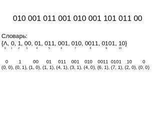 010 001 011 001 010 001 101 011 00 Словарь: {Λ, 0, 1, 00, 01, 011, 001, 010, 001