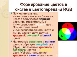 Формирование цветов в системе цветопередачи RGB При минимальных интенсивностях в