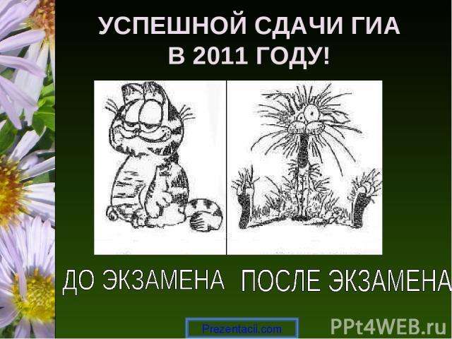 УСПЕШНОЙ СДАЧИ ГИА В 2011 ГОДУ! Prezentacii.com