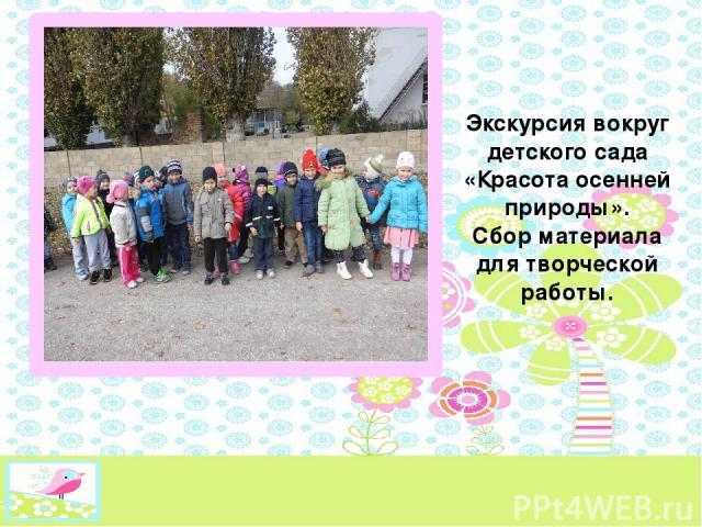 Экскурсия вокруг детского сада «Красота осенней природы». Сбор материала для творческой работы.