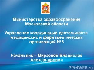 Министерства здравоохранения Московской области Управление координации деятельно