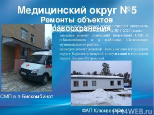 Медицинский округ №5 Ремонты объектов здравоохранения В текущем году, в рамках г