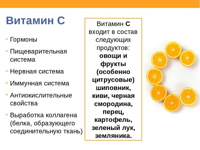 Витамин С Гормоны Пищеварительная система Нервная система Иммунная система Антиокислительные свойства Выработка коллагена (белка, образующего соединительную ткань) Витамин С входит в состав следующих продуктов: овощи и фрукты (особенно цитрусовые) ш…