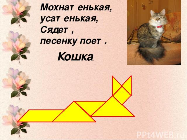 Мохнатенькая, усатенькая, Сядет, песенку поет. Кошка.