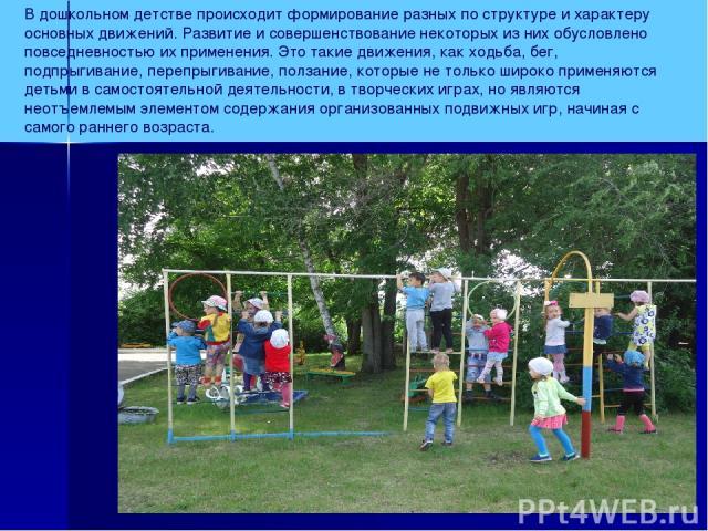В дошкольном детстве происходит формирование разных по структуре и характеру основных движений. Развитие и совершенствование некоторых из них обусловлено повседневностью их применения. Это такие движения, как ходьба, бег, подпрыгивание, перепрыгиван…
