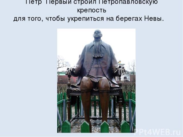 Пётр Первый строил Петропавловскую крепость для того, чтобы укрепиться на берегах Невы.