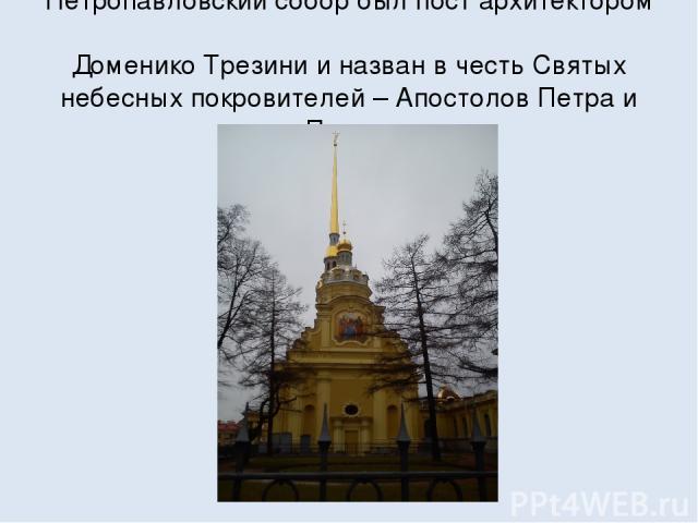 Петропавловский собор был пост архитектором Доменико Трезини и назван в честь Святых небесных покровителей – Апостолов Петра и Павла.