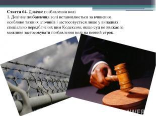 Стаття 64. Довічне позбавлення волі 1. Довічне позбавлення волі встановлюється з