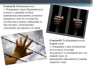 Стаття 61. Обмеження волі 1. Покарання у виді обмеження волі полягає у триманні