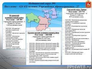 Медицинский округ №9 Население – 626 432 человек. Учреждения здравоохранения - 2