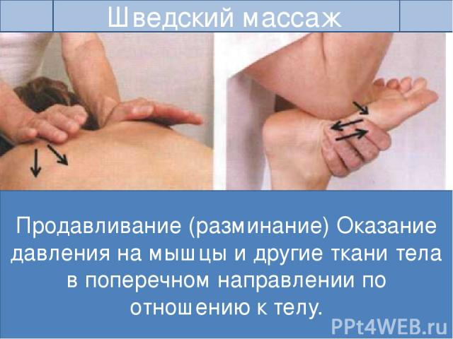 Алексей Зотиков Шведский массаж Продавливание (разминание) Оказание давления на мышцы и другие ткани тела в поперечном направлении по отношению к телу. Руки располагаются на обрабатываемых мышцах, тяжесть тела переносят на прямые в локтях руки. На б…