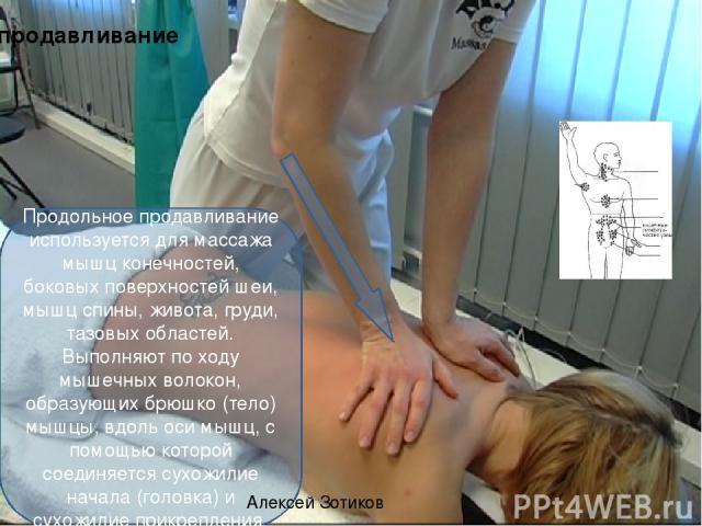 продавливание Продольное продавливание используется для массажа мышц конечностей, боковых поверхностей шеи, мышц спины, живота, груди, тазовых областей. Выполняют по ходу мышечных волокон, образующих брюшко (тело) мышцы, вдоль оси мышц, с помощью ко…
