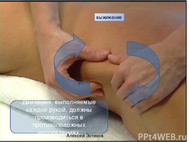 выжимание Движения, выполняемые каждой рукой, должны производиться в противоположных направлениях. Алексей Зотиков