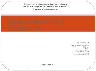 Выполнили: Студентки группы ТК-21 Плюснина А.А. Нелюбина Ю.В. ВИДЫ ГРАФИЧЕСКИХ П