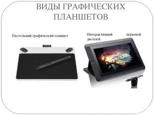 ВИДЫ ГРАФИЧЕСКИХ ПЛАНШЕТОВ Настольный графический планшет Интерактивный перьевой