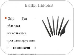 ВИДЫ ПЕРЬЕВ Grip Pen –обладает несколькими программируемыми клавишами и имеет ре